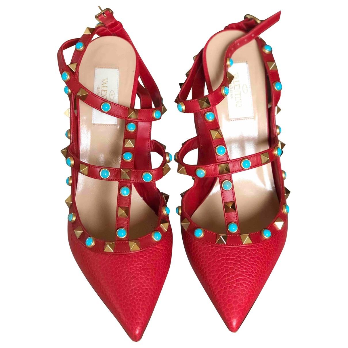 Valentino Garavani Rockstud Red Leather Heels for Women 38 EU