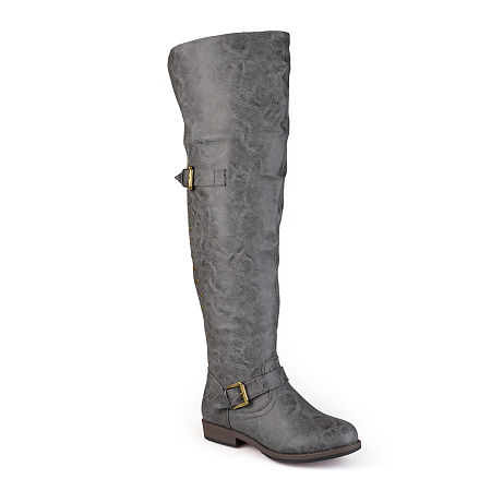 Journee Collection Womens Kane Over-The-Knee Riding Boots, 6 1/2 Medium, Gray