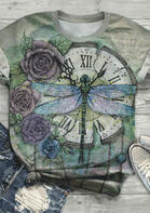 Floral Dragonfly Clock T-Shirt Tee
