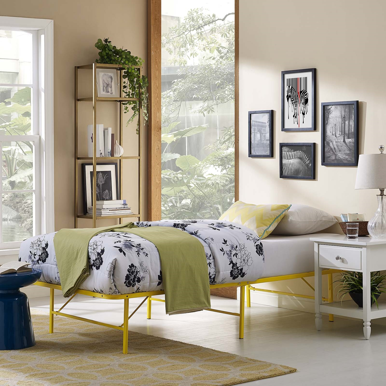 Horizon Twin Stainless Steel Bed Frame in Yellow
