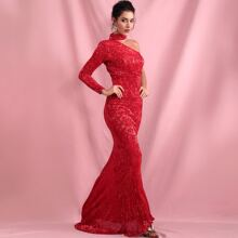One Shoulder Sequin Fishtail Prom Dress