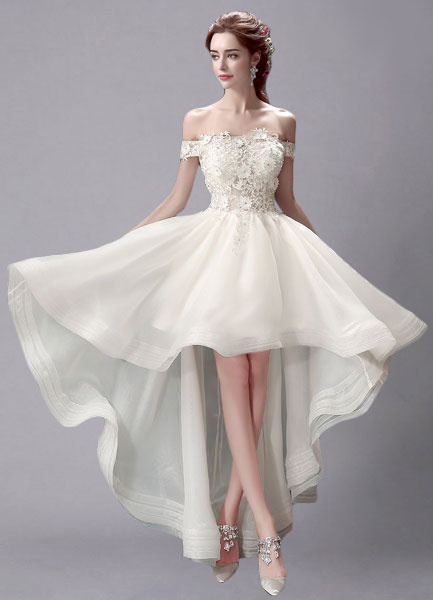 Milanoo Ivory Wedding Dress High-Low Off-the-Shoulder Lace Wedding Gown