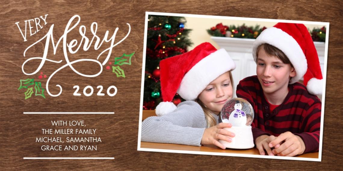 Christmas Photo Cards 4x8 Flat Card Set, 85lb, Card & Stationery -Christmas 2020 Festive Merry by Tumbalina