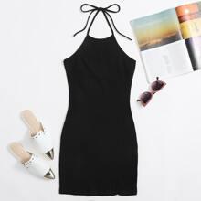Tie Back Split Hem Halter Dress