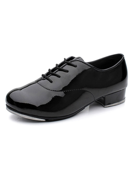 Milanoo Womens Tap Dance Shoes Black Plate Lace Up Round Toe Heeled Ballroom Shoes