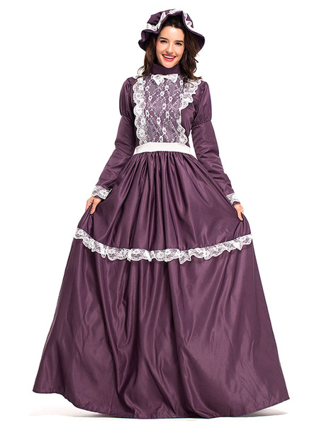 Milanoo Halloween Costumes Fuchsia Retro Costumes Women\'s Costume Bow Lace Lace Ruffles Lace Headwear Dress Middle Ages Vintage Clothing