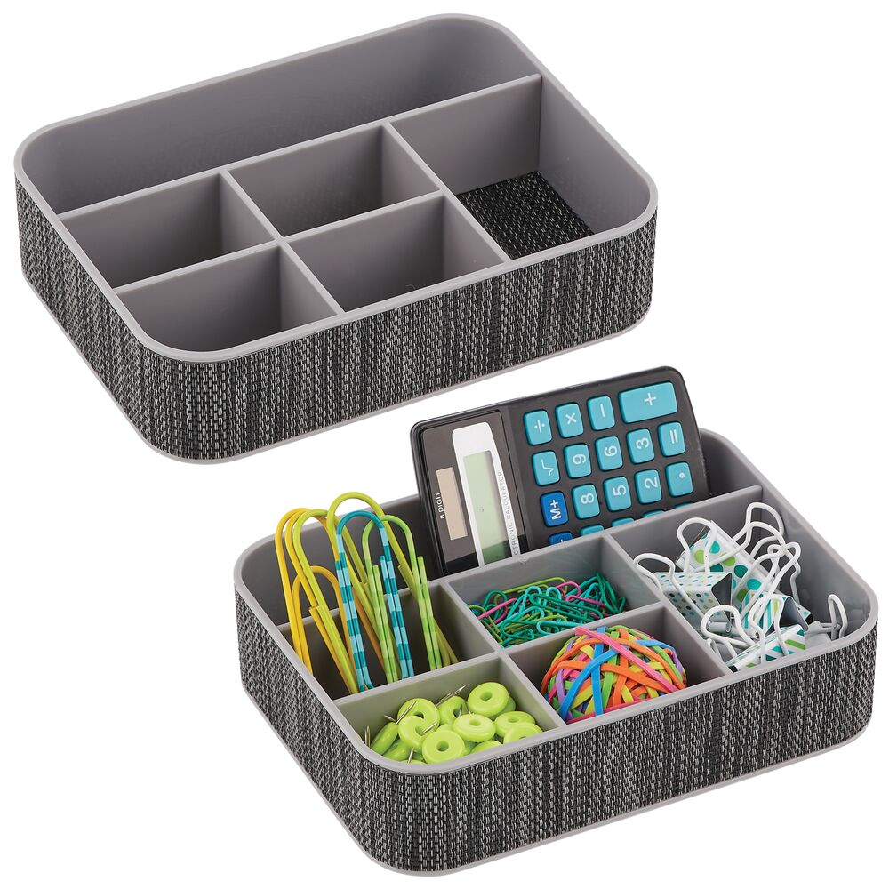 Plastic Home Office Drawer Organizer, 6 Sections in Gray/Black/White, 6