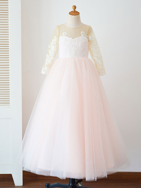 Milanoo Flower Girl Dresses Jewel Neck Tulle Long Sleeves Floor-Length Princess Silhouette Buttons Formal Kids Pageant Dresses