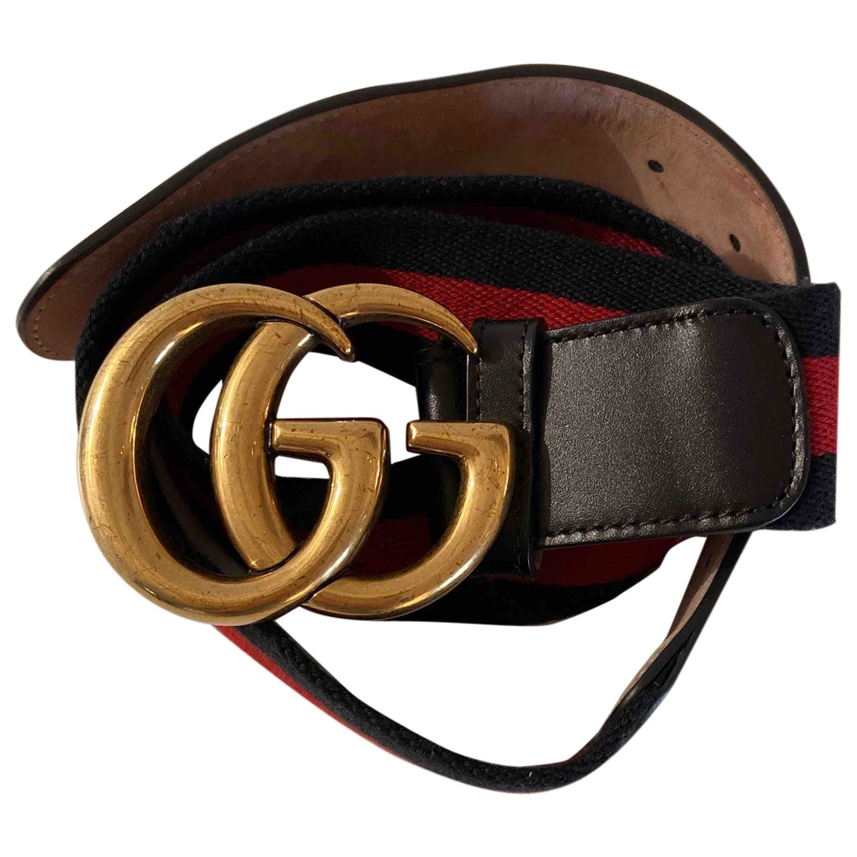 Gucci GG Buckle Blue / Red Cloth belt for Women 85 cm
