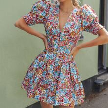 Allover Floral Print Button Front Puff Sleeve Dress