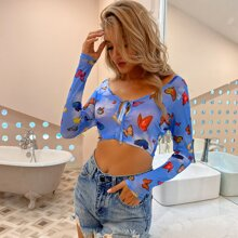 D&M Tie Front Cut-out Allover Butterfly Print Top