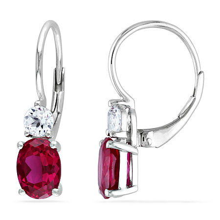 Lab Created Red Ruby Sterling Silver Drop Earrings, One Size , No Color Family