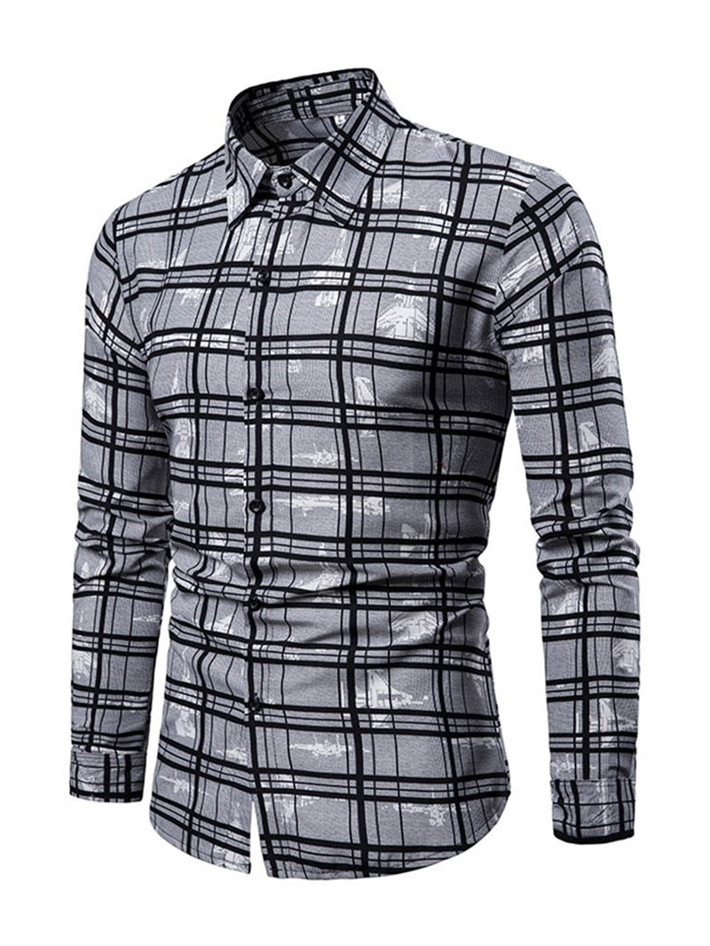 Ericdress Printed Plaid Lapel Single-Breasted Mens Casual Shirt
