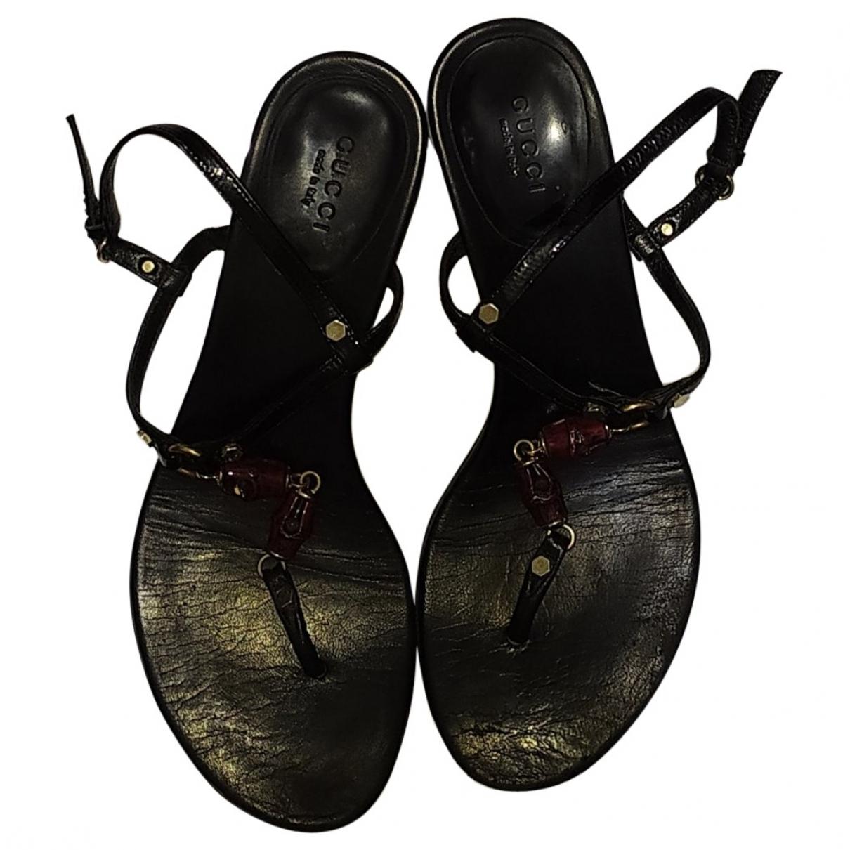 Gucci \N Black Leather Sandals for Women 37.5 EU