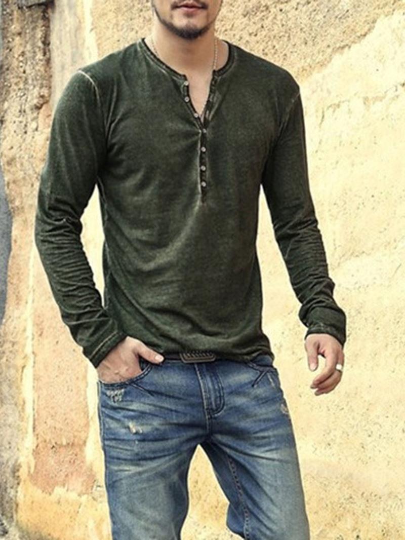 Ericdress Plain Round Neck Casual Men's Long Sleeve T-shirt