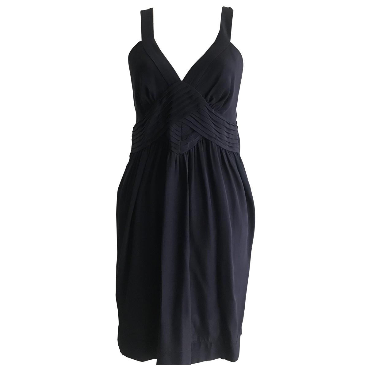 Sandro \N Navy Silk dress for Women 38 FR