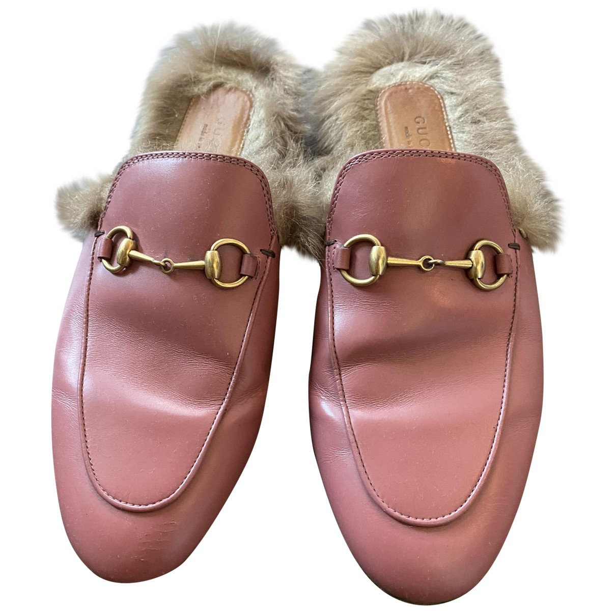 Gucci Princetown Pink Leather Flats for Women 37 EU