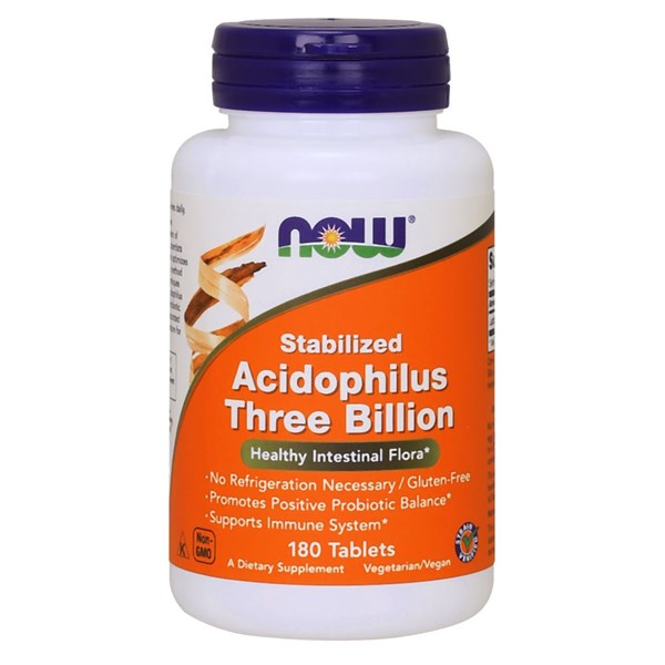Stabilized Acidophilus 3 Billion 180 Tabs by Now Foods