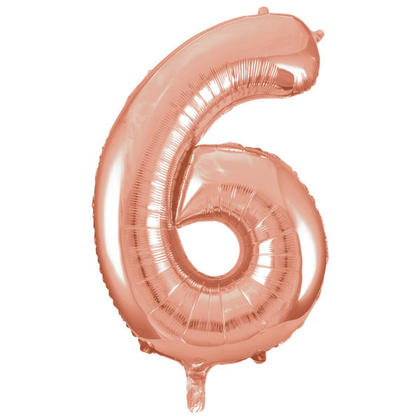 Number 6 Foil Balloon Rose Gold 34