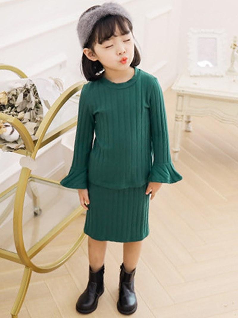Ericdress Plain Thread Casual Sweater & Skirt Girl's Outfits