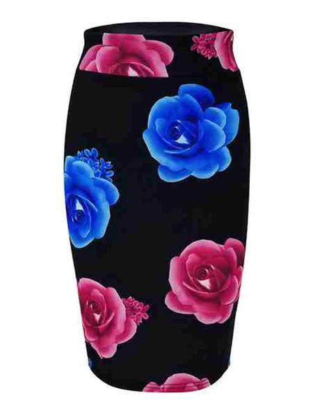 Milanoo Women Skirt Black Printed Cotton Blend Summer Autumn And Winter Women Bottoms