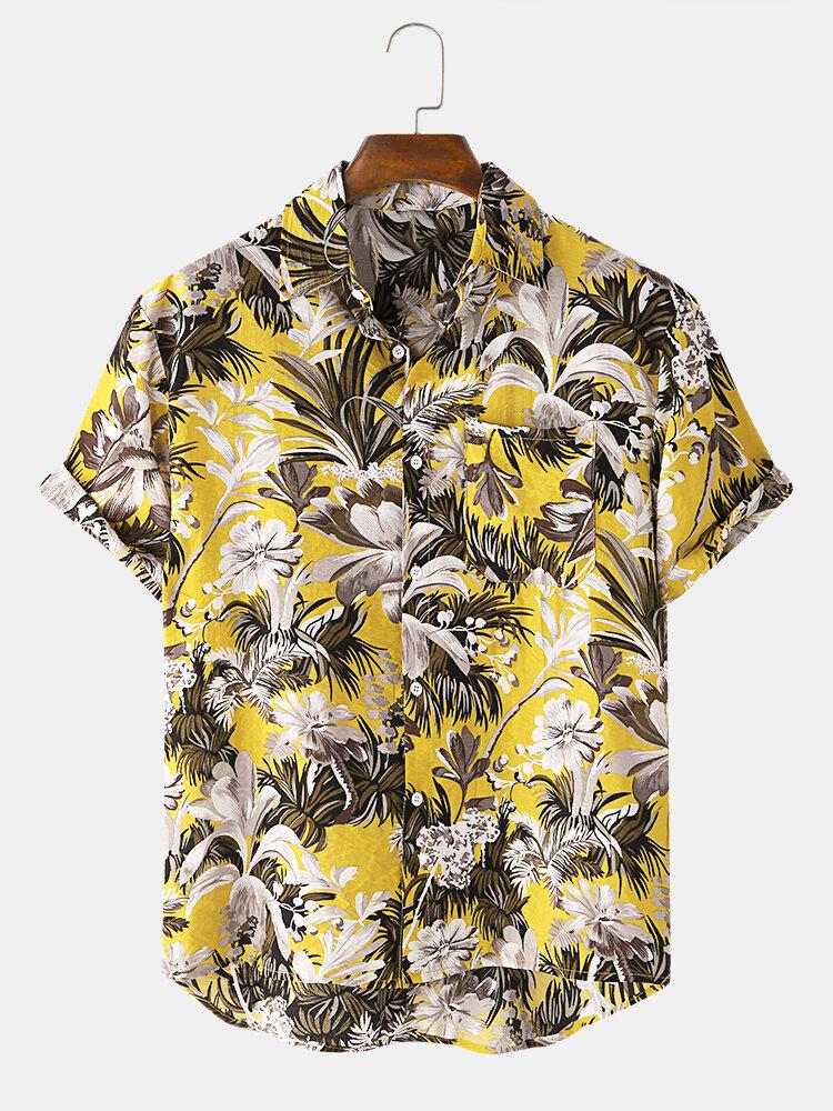 Mens Hawaiian Floral Printed Chest Pocket Short Sleeve Holiday Shirt