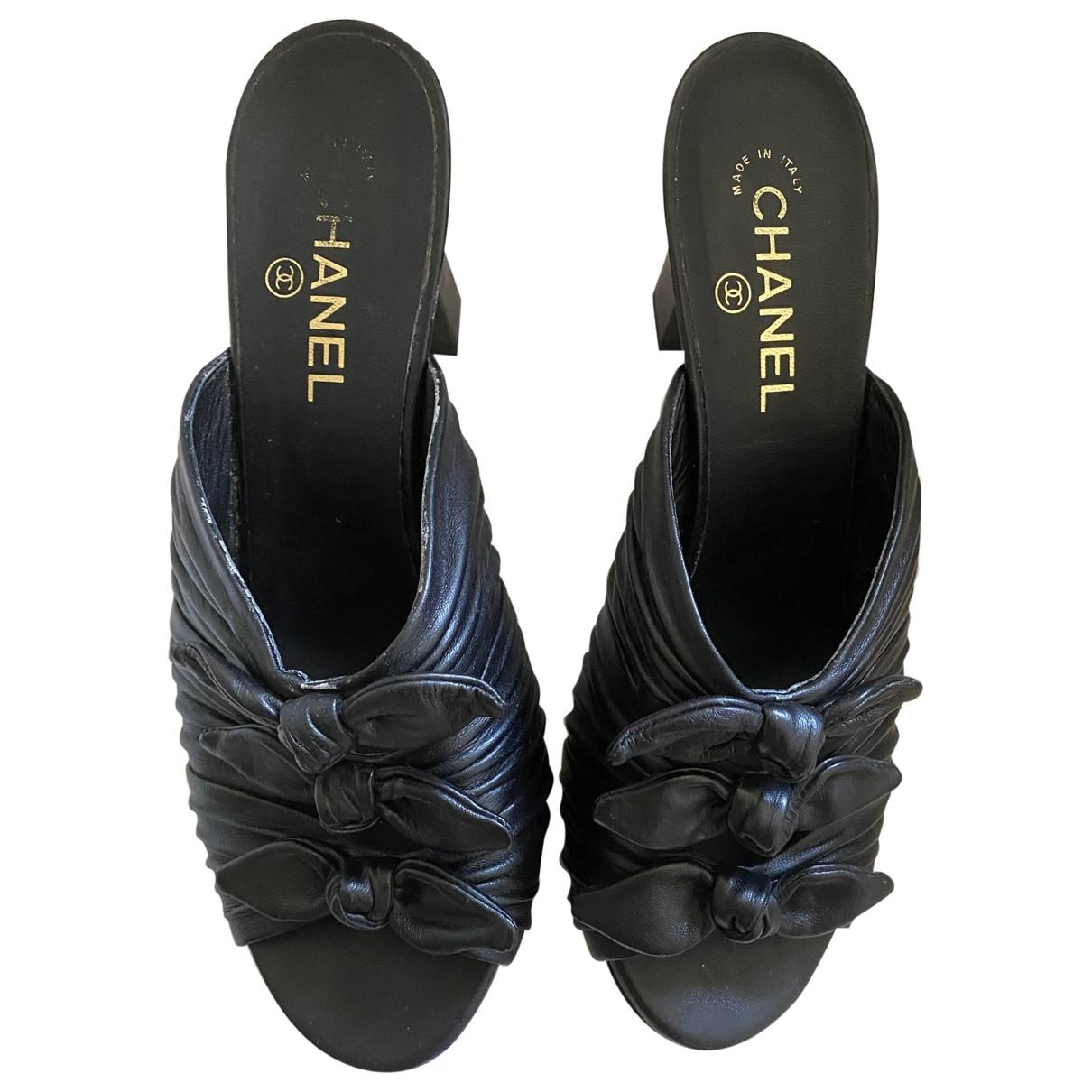 Chanel \N Black Leather Sandals for Women 41 EU