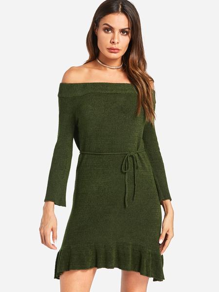 Yoins Green Self-tie Design Plain Off The Shoulder Flounced Hem Long Sleeves Dress