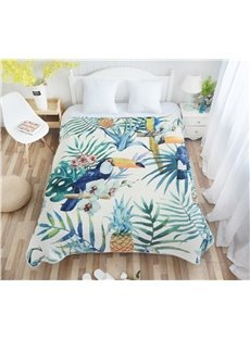 Birds and Palm Leaves Pattern Flannel Bed Blankets
