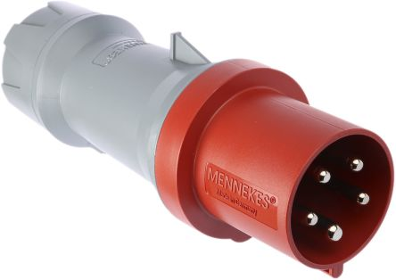 MENNEKES , PowerTOP Plus IP44 Red Cable Mount 5P Industrial Power Plug, Rated At 63.0A, 400 V