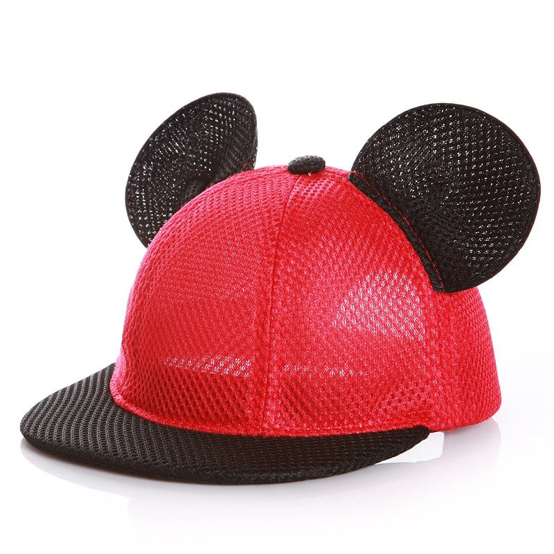 Child Adults Summer Breathable Cute Mickey Ear Cap Outdoor Casual Travel Mesh Baseball Hat