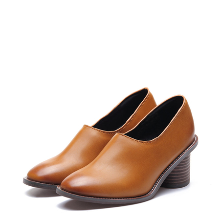 Yoins Square Toe Chunky Heel Leather Look Shoes in Brown