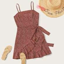 Ditsy Floral Print Ruffle Detail Wrap Knot Slip Dress