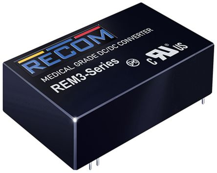 Recom REM3 3W Isolated DC-DC Converter Through Hole, Voltage in 18 → 36 V dc, Voltage out 5V dc Medical Approved