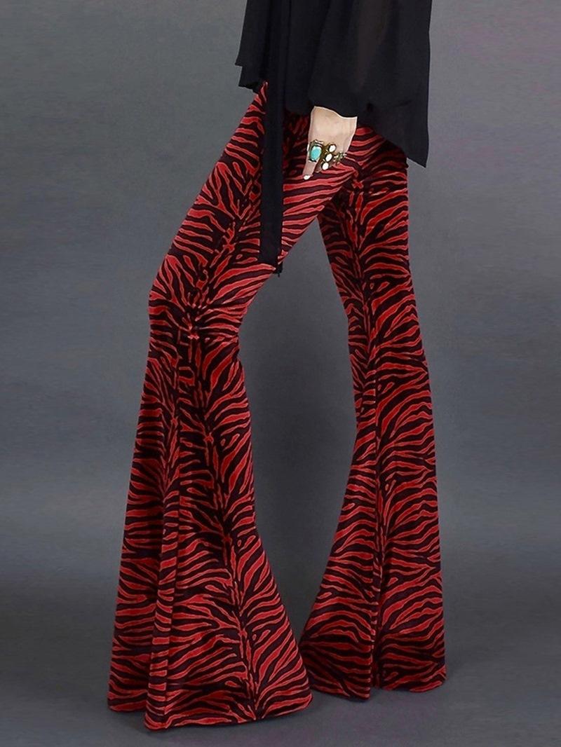 Ericdress Print Full Length Bellbottoms Slim Casual Pants