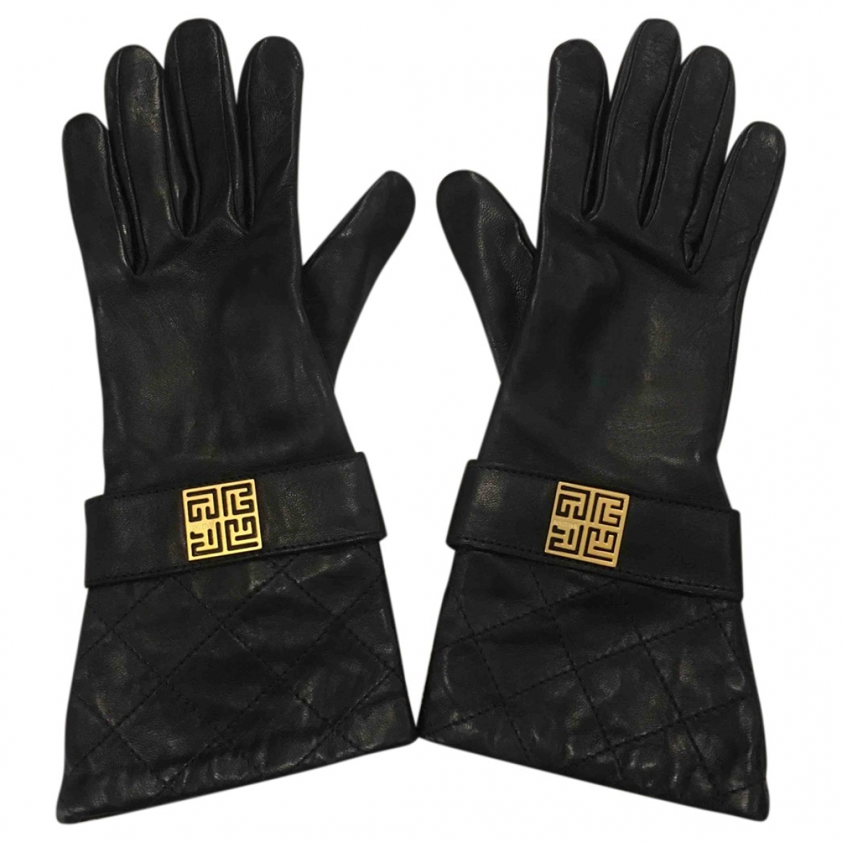Balmain \N Black Leather Gloves for Women 7 Inches