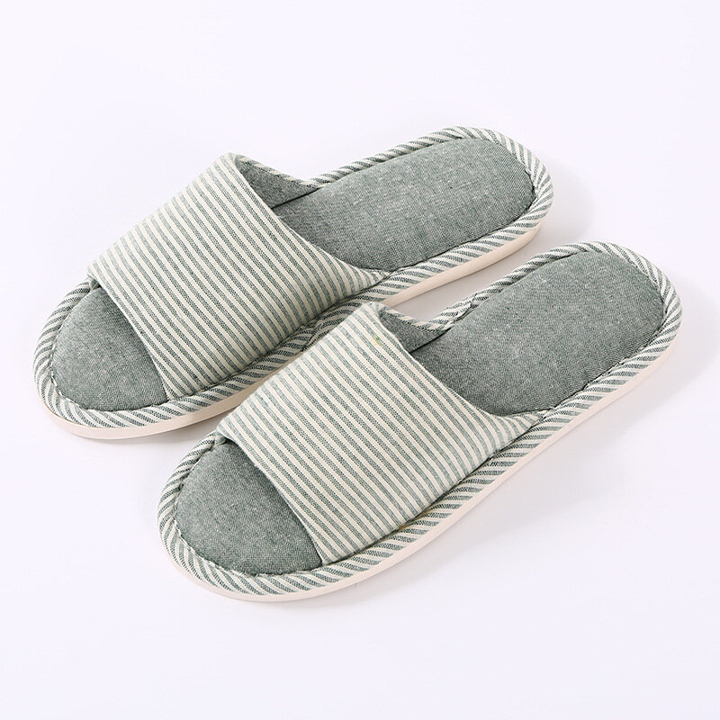 Women House Stripes Solid Color Flats Home Slippers