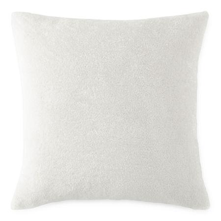 Faux Fur Square Throw Pillow, One Size , White