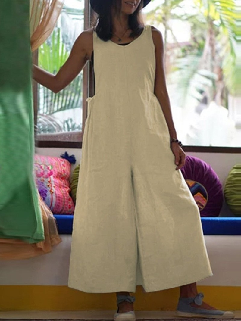 Ericdress Casual Plain Lace-Up Loose High Waist Jumpsuit