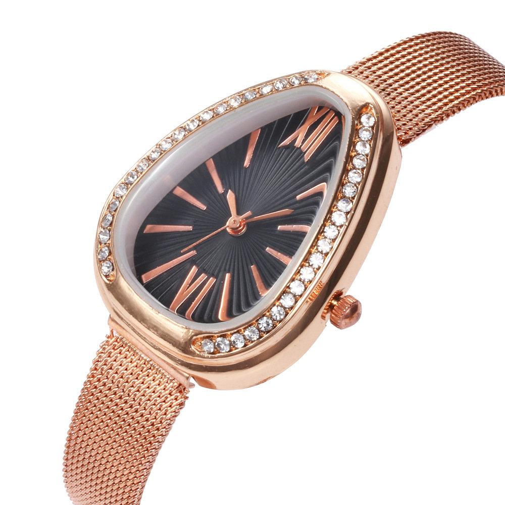 Trendy Water Drop Women Watch Diamond Rhinestone Quartz Watch Stainless Steel Waist Watch