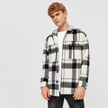 Guys Plaid Button Front Hooded Jacket