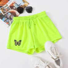 Plus Neon Lime Butterfly Embroidery Drawstring Waist Shorts