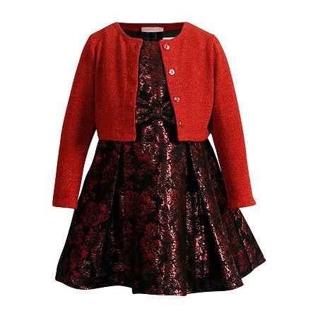 Emily West Little & Big Girls Sleeveless Cardigan Dress Set, 10 , Red