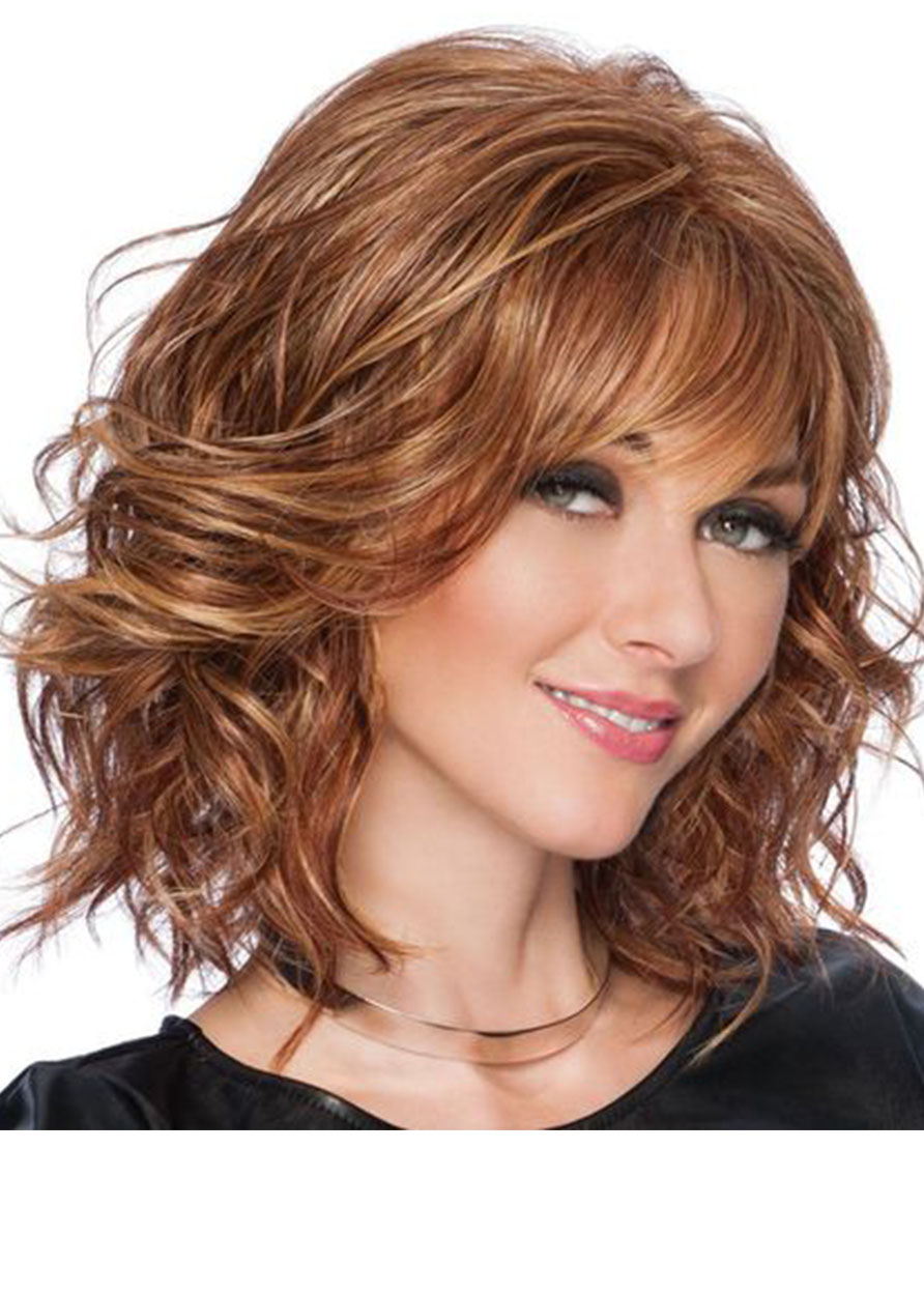 Lace Front Cap Wavy Human Hair 16 Inches 120% Wigs Heat Resistant Natural Looking Daily Party Wigs Cosplay Wigs with Natural Bangs with Free Wig Cap