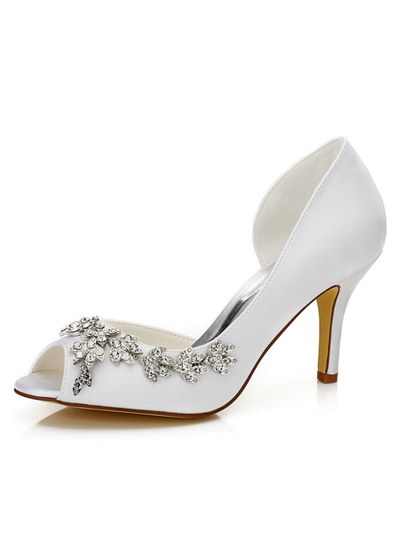 Milanoo Peep Wedding Shoes White Jeweled Cut-out Slip-on High Heel Bridal Shoes