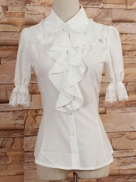 Milanoo White Middle Sleeves Lolita Blouse with Lapel and Ruffles