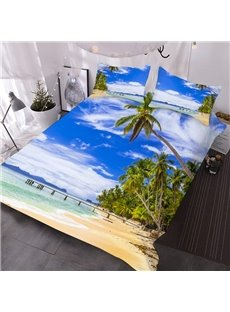 Beach And Coconut Trees 3D Printed 3-Piece Polyester Comforter Sets