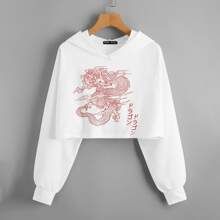 Japanese Letter & Dragon Graphic Crop Hoodie