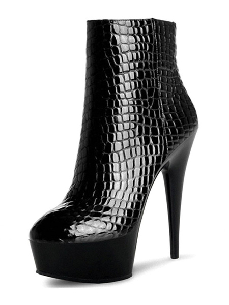 Milanoo Black Sexy Boots Women Round Toe Patterned Stiletto Heel Booties Ankle Boots