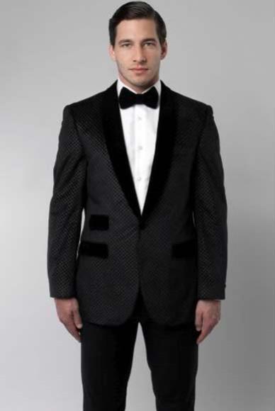 Mens Black Shawl Collar Retro Cross Slim Fit 2Button Poly Rayon Suit